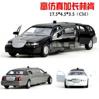 High artificial lengthen lincoln alloy car model four door acoustooptical toy car