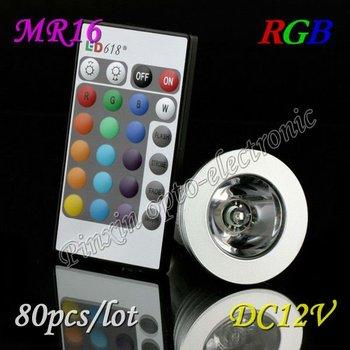 Free Shipping 80pcs/lot 3W RGB LED BULB MR16 DC 12V Remote Control Bulb Lamp 16 Color Spot