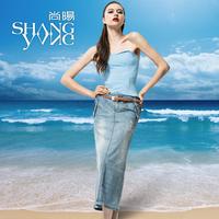 2012 autumn denim skirt female vintage denim bust skirt fashion full dress slim hip plus size skirt s81