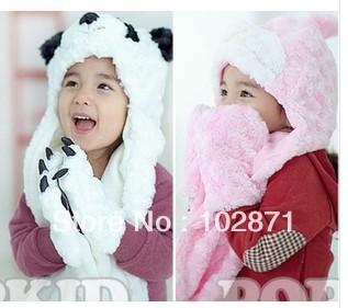 promotion !  2014 NEW Cartoon Panda shape Hat scarf even gloves children ear warmers Boys Girls Plush Earmuff Warm Hat  gifts