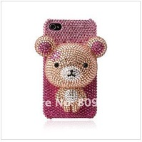 Wholesale - High Quality Rhinestone Phone Case 3D Lovely Bear Cellphone Cover Phone Case for iPhone4
