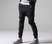 Men's Casual Sports Dance Trousers Baggy Jogging Harem Pants GRAY BLACK  / free shipping