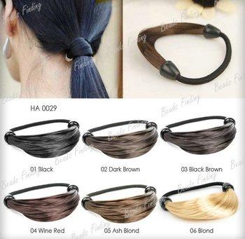 new Synthetic Fiber hairpeice Ponytail Elastic Hair Rope/Holers Hairband 1pcs hair rings