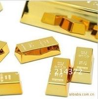 Free shipping creative fridge magnetic stickers mini gold bullion model,PET Transparent box pack 1 pack=6 pcs