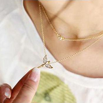 Sunshine jewelry store fashion full rhinestone flying angel necklace for women X80 ( $10 free shipping )