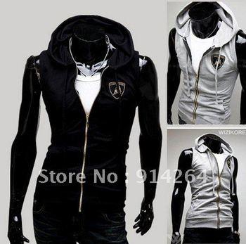 Mens Beach sport Casual Slim Hooded Hoody sleeveless T-shirt Vest Tops    / free shipping
