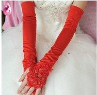 2012 Hot Red  Evening  Satin  bridal glove   ST-0009