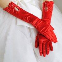 2012 Hot Red  Evening  Satin  bridal glove   ST-0011