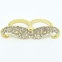 Full Rhinestone Moustache Ring Shinning Moustache Double Finger Rigs Fashion New Color Jewelry Free Shipping RS-J214