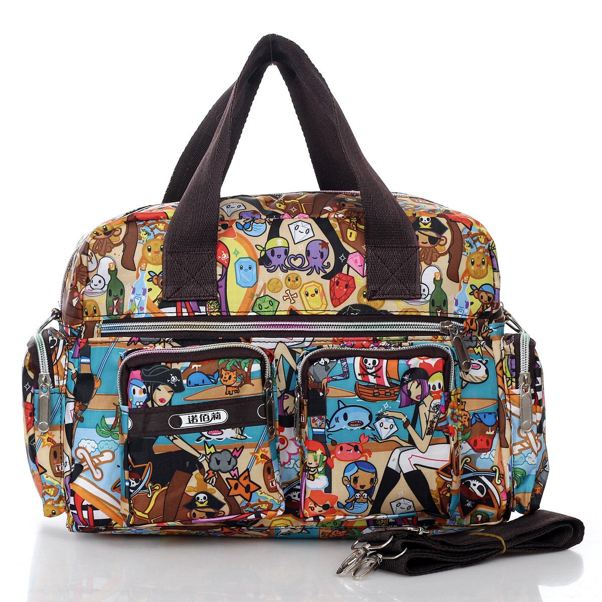 Flower waterproof nylon fabric handbag shoulder bag messenger bag women's handbag nappy bag(China (Mainland))