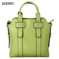 2012 female rivet genuine leather first layer of cowhide one shoulder cross-body handbag