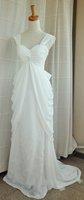 A-line V-neck Ivory White Cap Sleeves Evening Dress Empire Waist Wedding Dress Pregnant Bridal Gown Sz 2 4 6 8 10 12 14+Custom
