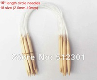 "Free shipping 18 Sizes 40cm 16"" Circular Bamboo Knitting Needles"