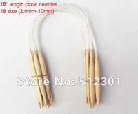 "New 2014 Free shipping 18 Sizes 40cm 16"" Circular Bamboo Knitting Needles"