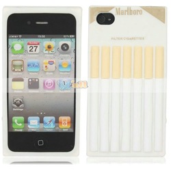 Creative Cigarette Style Protective Silicone Case for iPhone 4/4S White Free Shipping(China (Mainland))