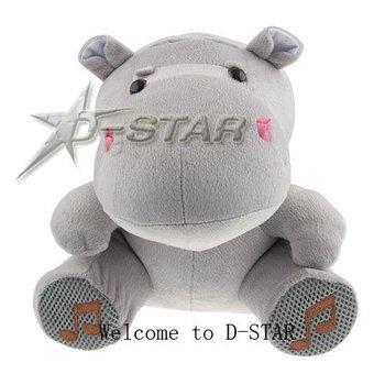 Free Shipping Cute Cartoon Hippo Plush Toy Speaker Mini Portable Speaker for MP3 MP4 Mobile Phone PC Laptop U Disk SD Card