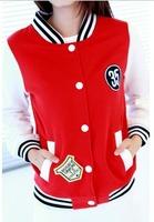 Autumn and winter baseball uniform female plus size loose long-sleeve lovers casual fleece sweatshirt cardigan
