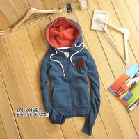 Inpose female autumn and winter fashion 100% cotton slim sports applique zipper-up sweatshirt 3