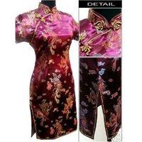 Burgundy Chinese Women's Satin Cheong-sam Mini Qipao Dress S M L XL XXL XXXL 4XL 5XL 6XL J4063