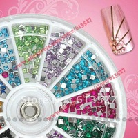 12 Colors square Nail Art rhinestones Acrylic Nail Decoration For UV Gel Iphone and laptop DIY
