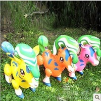 24 PCS Rainbow horse PVC Inflatable toys for children games Kids birthday gifts, air-filled Height 39cm Random color