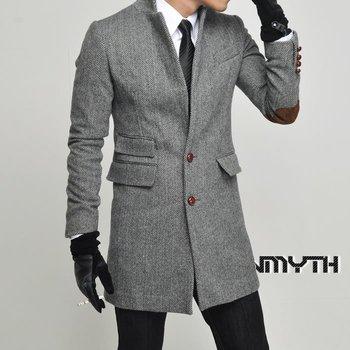 Men myth two-Цвет stripe buckle slim lambdoid Шерсть coat Повседневный male trench ...