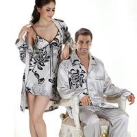 LZ man or woman Autumn polyester silk sleepwear long-sleeve pajamas set  sexy dress robe nightgown 2 piece twinset plus size XXL