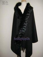 Hot sale Fashion   Black   100%Wool   Women's Shawl  Scarf  scarves wrap With Rabbit Fur