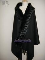 Hot sale Fashion   Black   100%Wool   Women's Shawl  Scarf  scarves wrap With Rabbit Fur