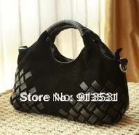 Free shipping 2013 New Designer  Frosted woven Genuine leather handbags / shoulder bags