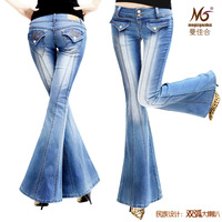 40% off promotion 2013 autumn big horn jeans female high grade super bell bottom jeans denim pants trousers plus size