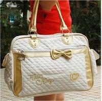 Free Shipping Cute 2012 New Fashion Hello Kitty Pu  schoolbag tote bag handbag shoulder bag  Black White