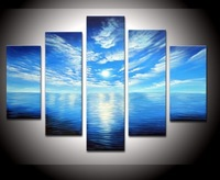 hand-painted artwork Blue ocean white clouds ready to hang Wall Decor Landscape Oil Painting on canvas 5p/set  DY-034