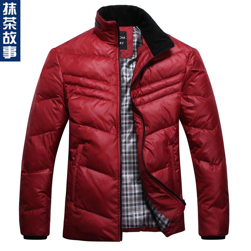 Green tea 2012 red down coat male short design men's clothing(China (Mainland))