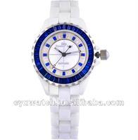 2012 women ladies girls blue white ceramic watch wristwatches