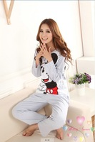 girl's pink long sleeve pajamas set/ cute cotton Minnie pajamas suits for women ladies sleepwear 2pcs/set free shipping