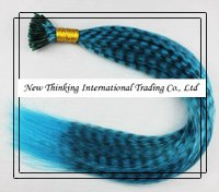 16''100strands #sky blue Grizzly Stick tipped Feather Hair Straight hair extensions synthetic hair