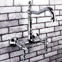 Wholesale Kitchen Tap Wall Mounted Chrome Bridge Kitchen Sink Faucet 5681A Free Shipping