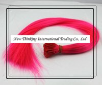16''200strands #deep pink Stick tipped Straight feather hair extentions synthetic hair