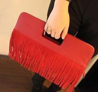 Fashion normic vintage bag handbag women's handbag genuine leather tassel bag casual day clutch shoulder bag dual-use