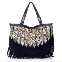 2012 autumn women's handbag leopard print decoration tassel casual handbag messenger bag shoulder bag fashion bag