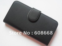 Flip Leather Case with Credit Card Holder/Slot Magnetic Folio Cover for Apple iPhone 5 Free DHL Shipping 500pcs/lot