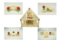 Best selling!! educational wooden toy Blocks toys Doll house Wooden villa model Blocks house Free shipping,1pcs
