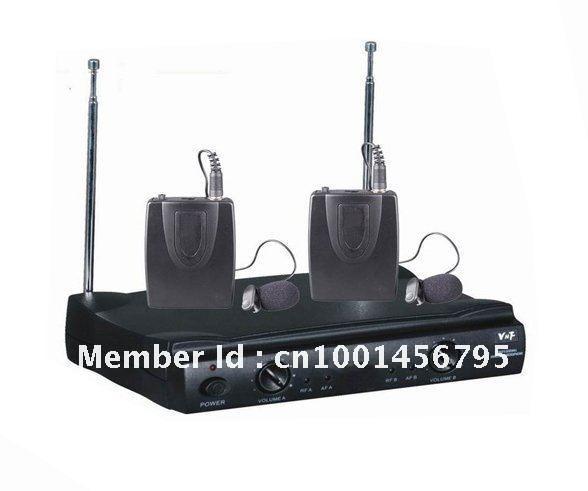 Pro Dual Wireless Microphone Cordless DJ Karaoke Public Address PA Mic System AP-2133(China (Mainland))