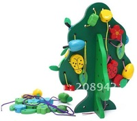 Best selling!! educational wooden toy green fruit tree stringing beads game building blocks children toys Free shipping,1pcs