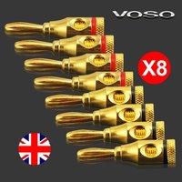 Free shipping New 24K Gold  Banana Plug Jack Speaker Connectors Binding Post 8 pcs/lot