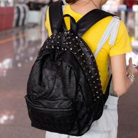 1PCS Free Shipping Unique Design Skull Unisex  Backpack Bags PU Rivet Fashion Backpack for Women, Men, Students