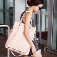 2012 New Women's handbag Nude Color Bag, Female Shoulder Bag Decorated by Rivet, Black/ Beige Bags, Free Shipping(1PCS)