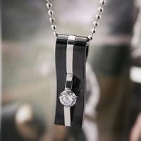 Wholesale and retail fashion black crest man titanium steel pendant necklace neck chain exquisite gift T034