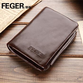 2014  feger male cowhide fashion wallet casual three-fold short design wallet